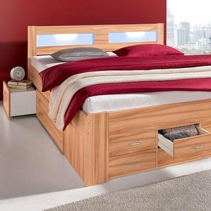 Breckle Bett, Schubkästen im Fußteil, Kaltschaummatratze, braun, 180/200 cm, mit geräumigen Schubkästen