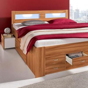 Breckle Bett, Schubkästen im Fußteil, braun, 180/200 cm, mit geräumigen Schubkästen