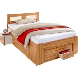 Breckle Bett, Schubkästen im Fußteil, Kaltschaummatratze, braun, 120/200 cm, mit geräumigen Schubkästen