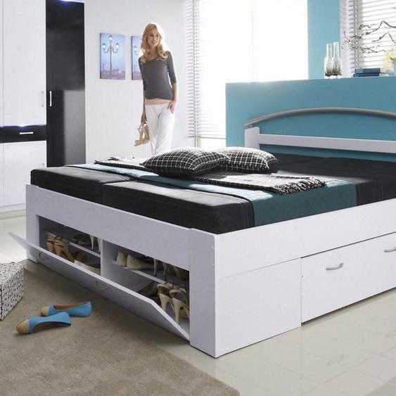 Breckle Stauraum-Bett, weiß, Material Massivholz