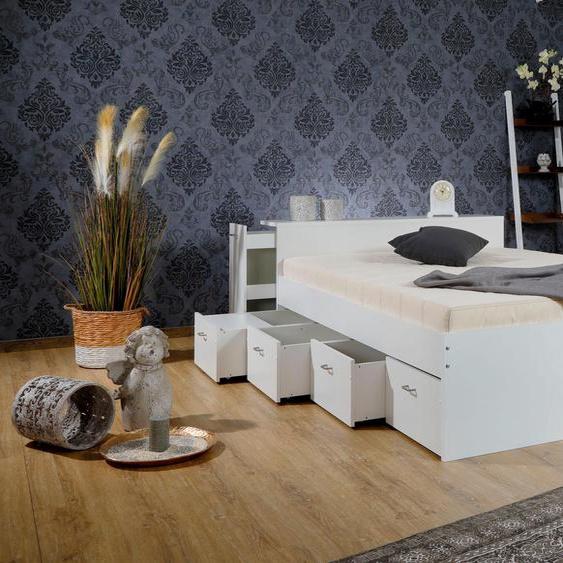 Breckle Stauraumbett, weiß, Material Kunststoff / Baumwolle / Polyester