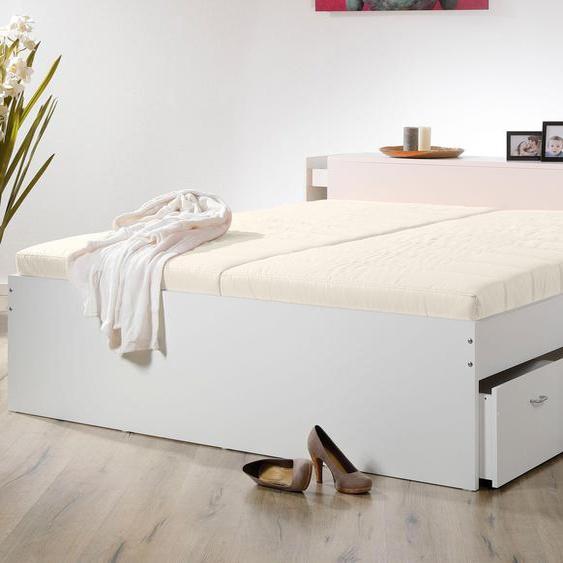 Stauraumbett, weiß, Material Kunststoff / Baumwolle / Polyester