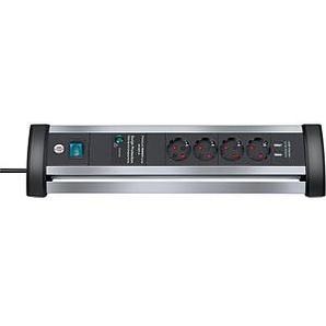 brennenstuhl Alu-Office-Line 4-fach Steckdosenleiste mit Überspannungsschutz schwarz