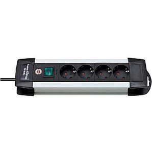 brennenstuhl Premium-Alu-Line 4-fach Steckdosenleiste mit Schalter schwarz