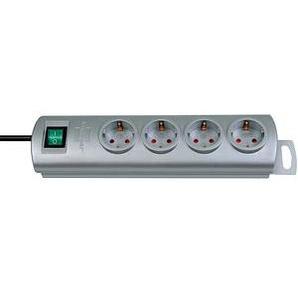 brennenstuhl Primera-Line 4-fach Steckdosenleiste mit Schalter silber