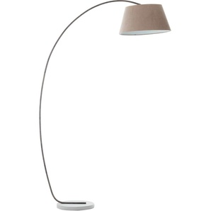 Brilliant Leuchten Bogenlampe Brok, E27, 1 St., Textil steht für Gemütlichkeit und Harmonie flg., Höhe: 196 cm, Bogenstandleuchte grau Bogenlampen Stehleuchten Lampen