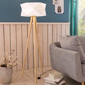Brilliant Stehlampe, Weiß / Eiche, Holz