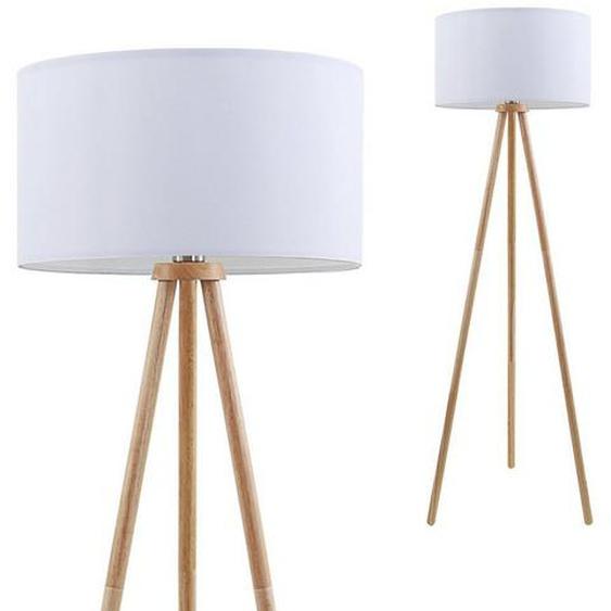 Briloner Leuchten Stehlampe »Rocco«, Stehlampe Holz mit Stoffschirm in weiß 148cm