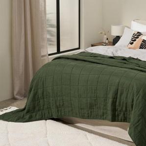 Brisa Tagesdecke (220 x 225 cm) aus 100 % weich gewaschenem Leinen, Moosgruen
