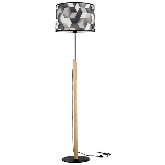 BRITOP LIGHTING Stehlampe »ESPACIO«, Aus Eichenholz mit FSC®-Zertifikat, Schirm aus laminierter Tapete, passende LM E27 / exklusive, Made in Europe