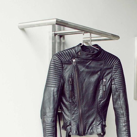 B�ro Garderobe aus Edelstahl 65 cm breit