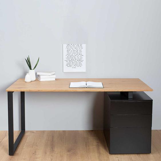 Büroschreibtisch in Schwarz und Eiche Optik drei Schubladen