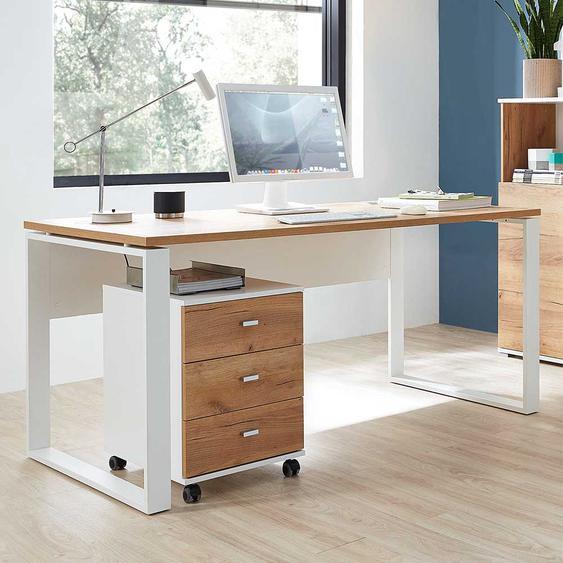 Büroschreibtisch in Weiß und Dekor Wildeiche dunkel Rollcontainer (2-teilig)