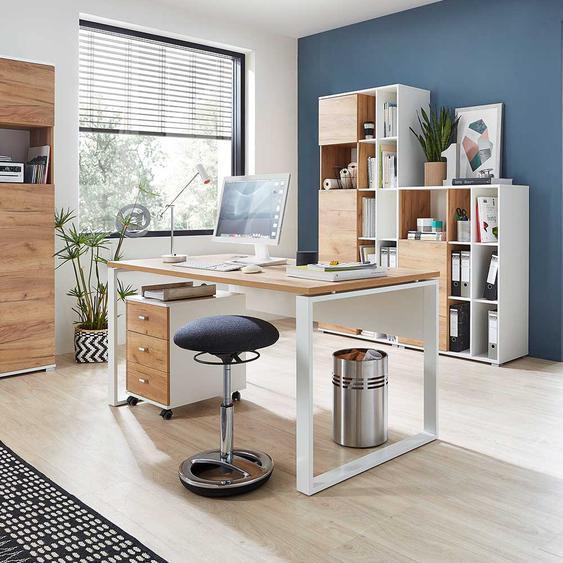 Büroschreibtisch in Weiß und Wildeiche Dekor Made in Germany