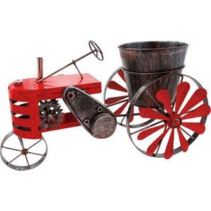 Brubaker Vintage Traktor zum Bepflanzen mit Windspiel 23 x 28 x 48 cm Metall wetterfest Handbemalt mit Antik Effekt Rot