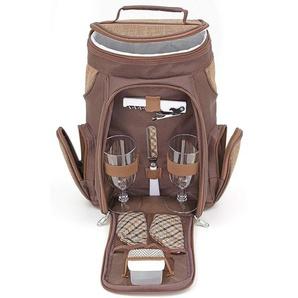 Brubaker Wein oder Champagner Picknicktasche mit Gläsern für 2 Personen mit Kühlfach