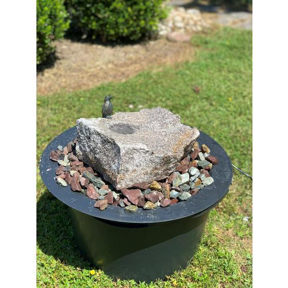 Brunnenkomplett-Set Wasserlauf mit Bronze Eisvogel