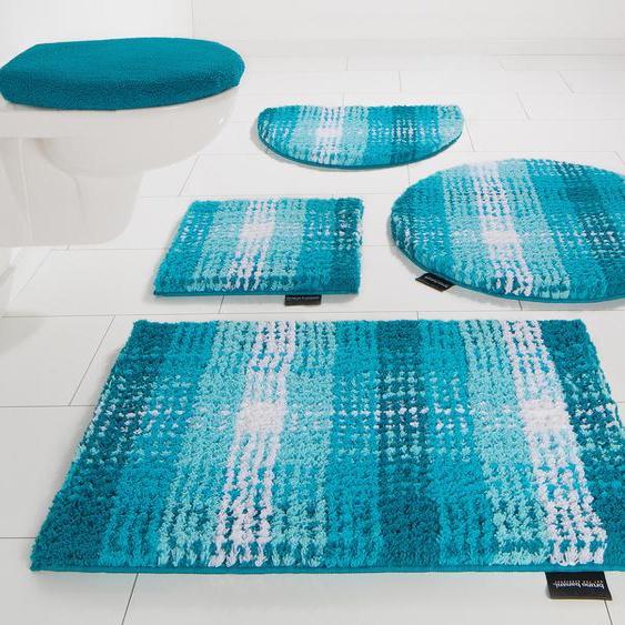 Bruno Banani Badematte Kyros, Höhe 25 mm, rutschhemmend beschichtet rechteckig (70 cm x 139 cm), 1 St. blau Gemusterte Badematten