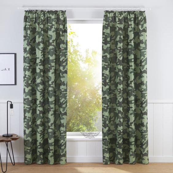 Bruno Banani Vorhang Camouflage 225 cm, Kräuselband, 140 cm grün Wohnzimmergardinen Gardinen nach Räumen Vorhänge