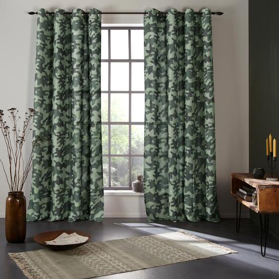 Bruno Banani Vorhang Camouflage 225 cm, Ösen, 140 cm grün Wohnzimmergardinen Gardinen nach Räumen Vorhänge