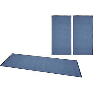 Bt Carpet Bettumrandung »Casual«, 14 (2x Brücke 140x67 cm & 1x Läufer 250x67 cm), 4 mm Gesamthöhe, blau