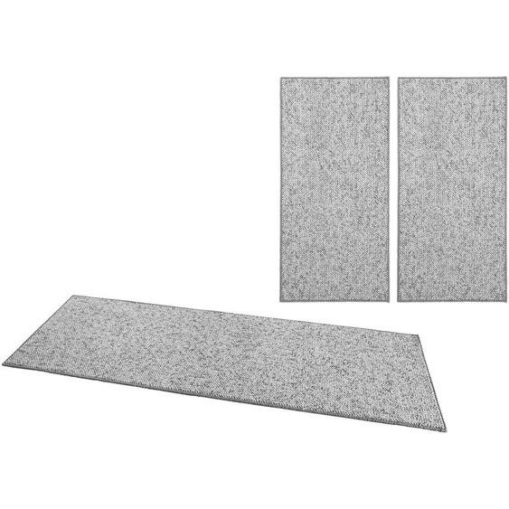 BT Carpet Bettumrandung Wolly 2, Woll-Optik, Hoch-Tief-Effekt B/L (Brücke): 67 cm x 140 (2 St.) (Läufer): 250 (1 St.), rechteckig grau Bettumrandungen Läufer Teppiche