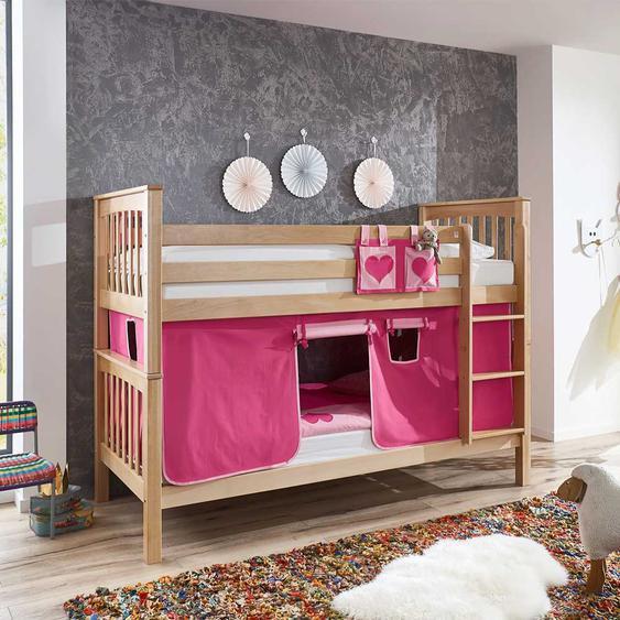 Buche Etagenbett massiv lackiert Vorhang in Pink und Rosa