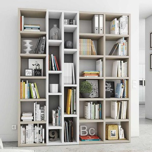 Bücher Regal 191 cm breit in Beige und Weiß Hochglanz