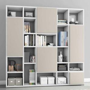Bücher Regalwand mit Türen Weiß Hochglanz und Beige