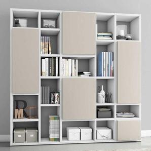 Bücher Regalwand mit Türen Weiß und Beige