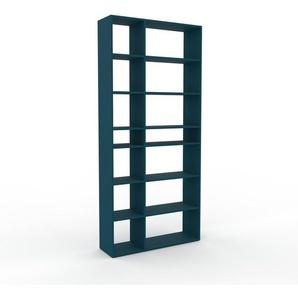 Bücherregal Blau - Modernes Regal für Bücher: Hochwertige Qualität, einzigartiges Design - 116 x 253 x 35 cm, Individuell konfigurierbar