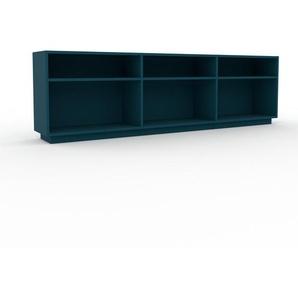 Bücherregal Blau - Modernes Regal für Bücher: Hochwertige Qualität, einzigartiges Design - 226 x 66 x 35 cm, Individuell konfigurierbar
