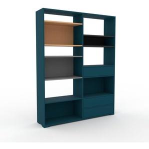 Bücherregal Blau - Modernes Regal für Bücher: Schubladen in Blau - 152 x 196 x 35 cm, Individuell konfigurierbar