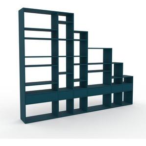 Bücherregal Blau - Modernes Regal für Bücher: Schubladen in Blau - 306 x 233 x 35 cm, Individuell konfigurierbar