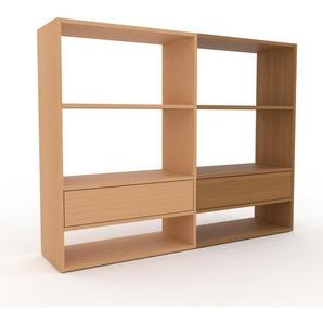 Bücherregal Buche - Modernes Regal für Bücher: Schubladen in Buche - 152 x 118 x 35 cm, Individuell konfigurierbar