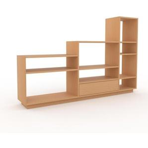 Bücherregal Buche - Modernes Regal für Bücher: Schubladen in Buche - 190 x 124 x 35 cm, Individuell konfigurierbar