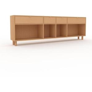 Bücherregal Buche - Modernes Regal für Bücher: Schubladen in Buche - 229 x 72 x 35 cm, Individuell konfigurierbar