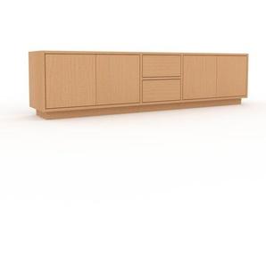 Bücherregal Buche - Modernes Regal für Bücher: Schubladen in Buche & Türen in Buche - 190 x 47 x 35 cm, konfigurierbar