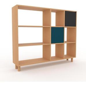 Bücherregal Buche - Modernes Regal für Bücher: Türen in Blau - 154 x 130 x 35 cm, Individuell konfigurierbar