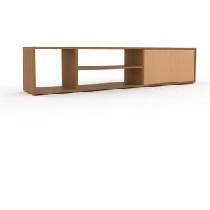 Bücherregal Eiche - Modernes Regal für Bücher: Türen in Buche - 190 x 41 x 35 cm, Individuell konfigurierbar