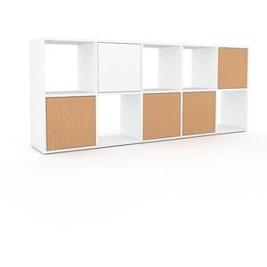 Wohnwand Weiß - Individuelle Designer-Regalwand: Türen in Buche - Hochwertige Materialien - 195 x 80 x 35 cm, Konfigurator