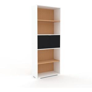 Bücherregal Weiß - Modernes Regal für Bücher: Türen in Schwarz - 77 x 196 x 35 cm, Individuell konfigurierbar