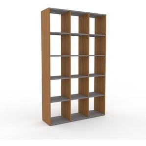 Bücherregal Eiche, Holz - Modernes Regal für Bücher: Hochwertige Qualität, einzigartiges Design - 118 x 195 x 35 cm, konfigurierbar