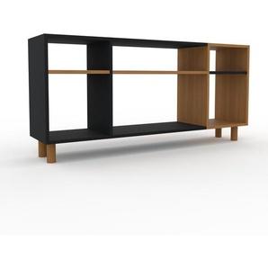 Bücherregal Schwarz - Modernes Regal für Bücher: Hochwertige Qualität, einzigartiges Design - 154 x 72 x 35 cm, Individuell konfigurierbar