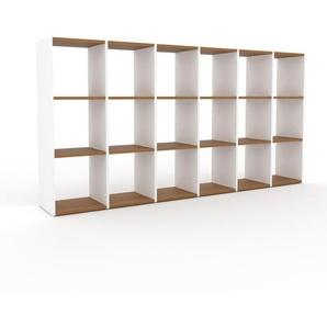 Bücherregal Weiß - Modernes Regal für Bücher: Hochwertige Qualität, einzigartiges Design - 233 x 118 x 35 cm, Individuell konfigurierbar