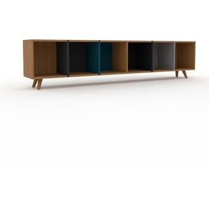 Bücherregal Eiche, Holz - Modernes Regal für Bücher: Hochwertige Qualität, einzigartiges Design - 233 x 53 x 35 cm, konfigurierbar
