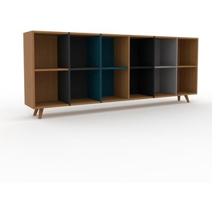Bücherregal Eiche, Holz - Modernes Regal für Bücher: Hochwertige Qualität, einzigartiges Design - 233 x 91 x 35 cm, konfigurierbar