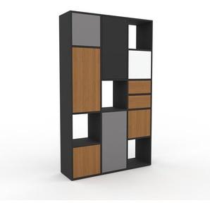 Bücherregal Anthrazit - Modernes Regal für Bücher: Schubladen in Eiche & Türen in Eiche - 118 x 195 x 35 cm, konfigurierbar