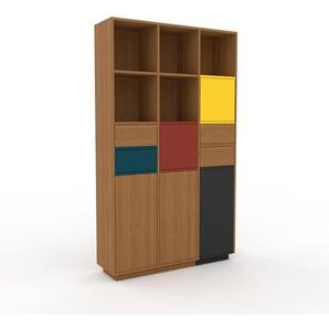 Bücherregal Eiche - Modernes Regal für Bücher: Schubladen in Eiche & Türen in Eiche - 118 x 200 x 35 cm, konfigurierbar