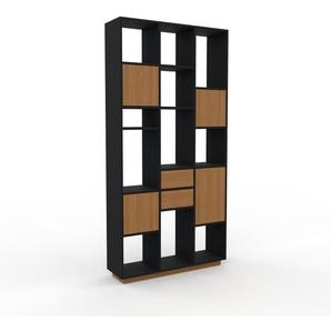 Bücherregal Eiche - Modernes Regal für Bücher: Schubladen in Eiche & Türen in Eiche - 118 x 239 x 35 cm, konfigurierbar